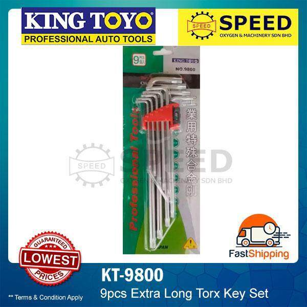 KINGTOYO 9pcs Extra Long Torx Key Set KT-9800