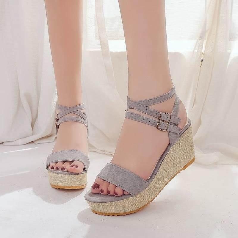 1ceba2a0f9 Summer❤Korean Fashion Women❤Wedge Sandals (Black) (Grey) Heel height