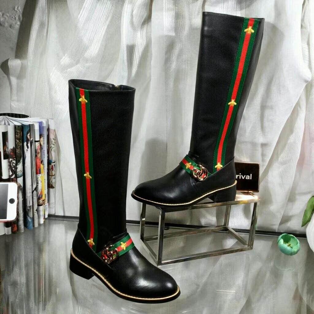5e9a7c086 Gucci high boots ladies fall/winter side zipper Martin boots Gucci cowhide  fashion boots metalornament