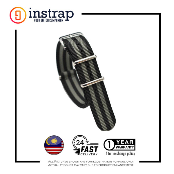 [20mm] Instrap Nato Strap Signature Classic Watch Band Silver Buckle (BlackGrey) Malaysia