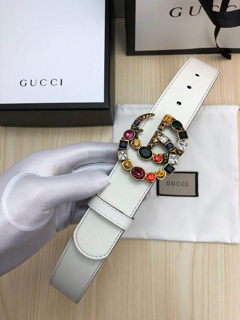 37f03b996 Original Womens Gucci GG Leather Belt with Crystal Double G Buckle Belt