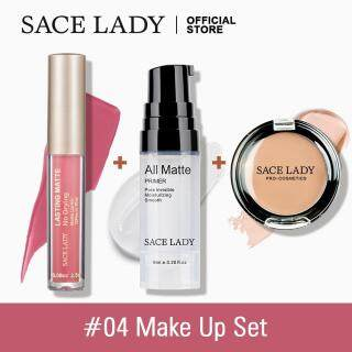 SACE LADY Set Make Up Bibir & Wajah, Kosmetik Lipstik + Primer + Concealer thumbnail