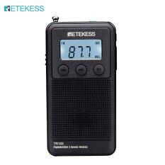 Đài Phát Thanh Mini FM MW Retekess TR103, Đài Điều Chỉnh Kỹ Thuật Số Sóng Ngắn Hỗ Trợ Thẻ TF Màn Hình LCD Có Đèn Nền (Màu Đen)
