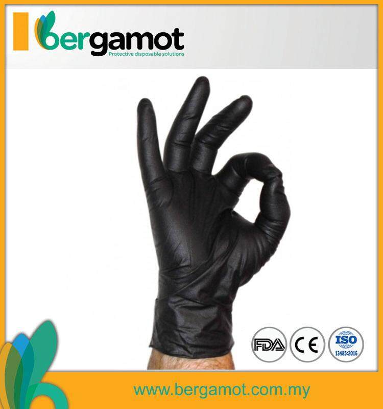 Bergamot Black Nitrile Powder Free Examination Disposable Gloves 100s ( S  M  L )