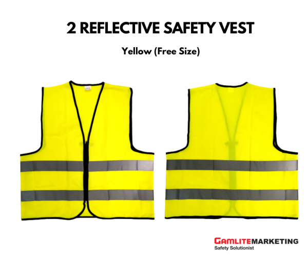 BA-V005 SAFETY VEST, ZIPPER, FREE SIZE WITH REFLECTIVE STRIPE (YELLOW) - READY STOCK