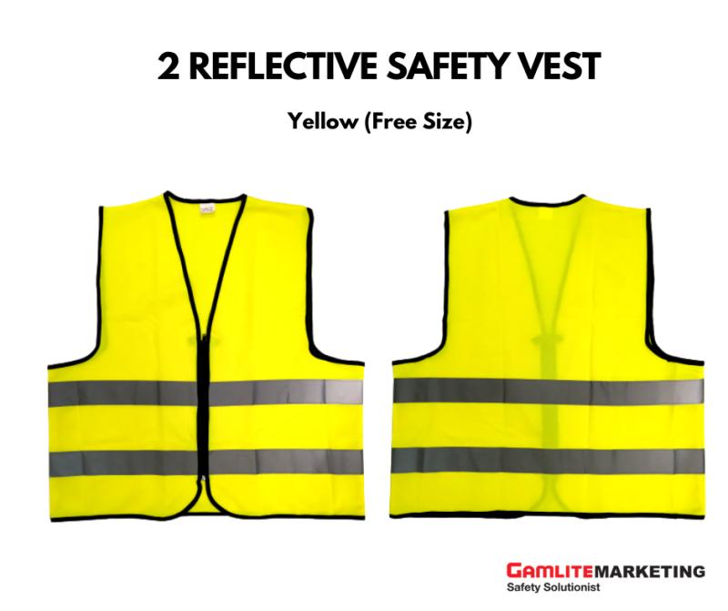 BA-V005 SAFETY VEST, ZIPPER, FREE SIZE WITH REFLECTIVE STRIPE (YELLOW) - READY STOCK