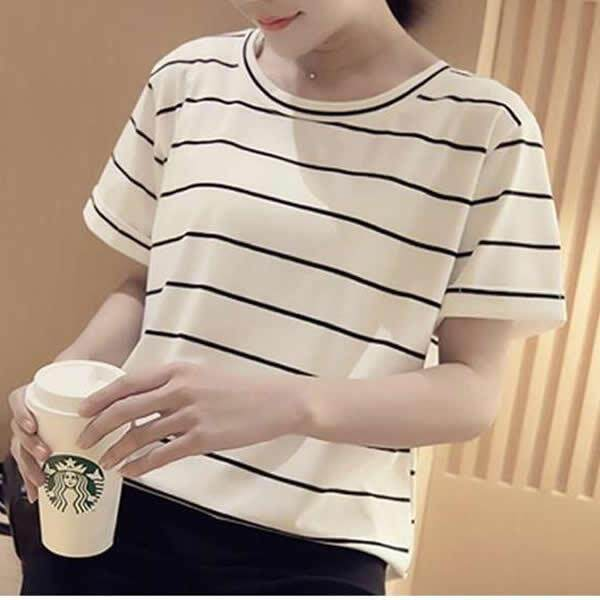 ade06a61d Loose Stripe T-Shirt Girl'S Short Sleeves Tops Blouse Shirt Tees❤Black/  White