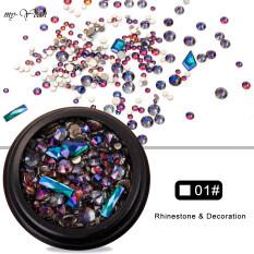 Hộp phụ kiện trang trí móng tay Myyeah làm bằng kim loại/ đá lấp lánh kiểu dáng 3D nhiều kích thước, có 13 mẫu mã để lựa chọn – INTL