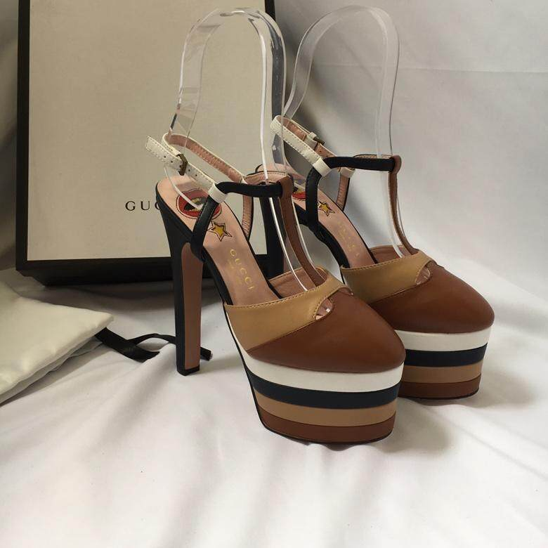 a163227253c Italian Gucci  Gucci cowhide women s shoes chunky with an 8cm pair of G  standard sandals