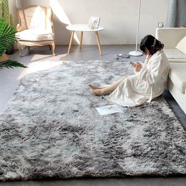Deluxe Soft Faux Sheepskin Shaggy Area Floor Rugs Children Play Carpet Square for Living & Bedroom Sofa Nordic INS Mottled Tie-dyeing Gradient