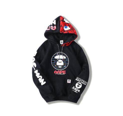 A Bathing Ape BAPE Ape Head Black White Round Collar Coat Sweats Pullover Jacket