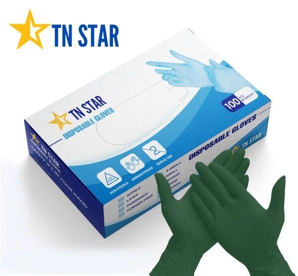 TNSTAR Nitrile Disposable Gloves Powder Free-Green (READY STOCK) [50pcs/100pcs by box]
