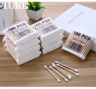 100 Cái gói Tăm Bông Hai Đầu Y Tế Làm Sạch Tai Gậy Gỗ - INTL thumbnail