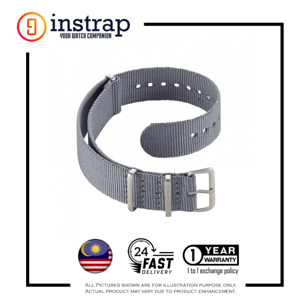 [22mm] Instrap Nato Strap Signature Classic Watch Band Silver Buckle (Grey) Malaysia