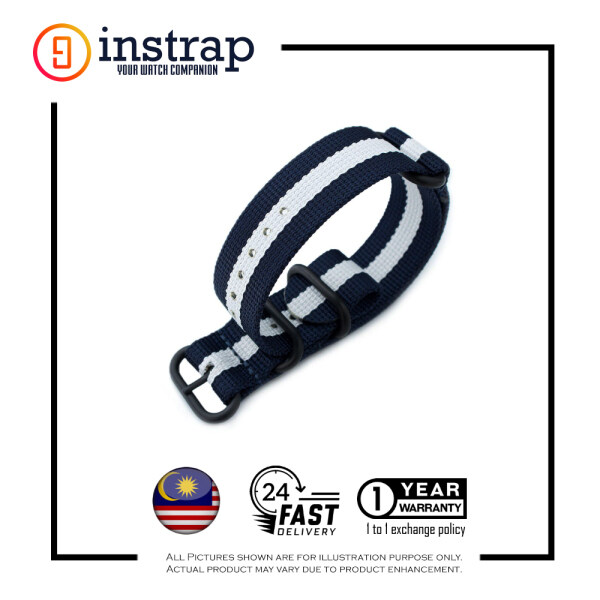 [22mm] Instrap Zulu Strap Signature Classic Watch Band PVD Black Buckle (BlueWhite) Malaysia