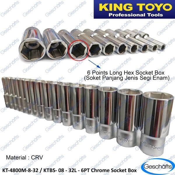 King Toyo Deep Length Chrome 6PT Socket Box 8mm-32mm