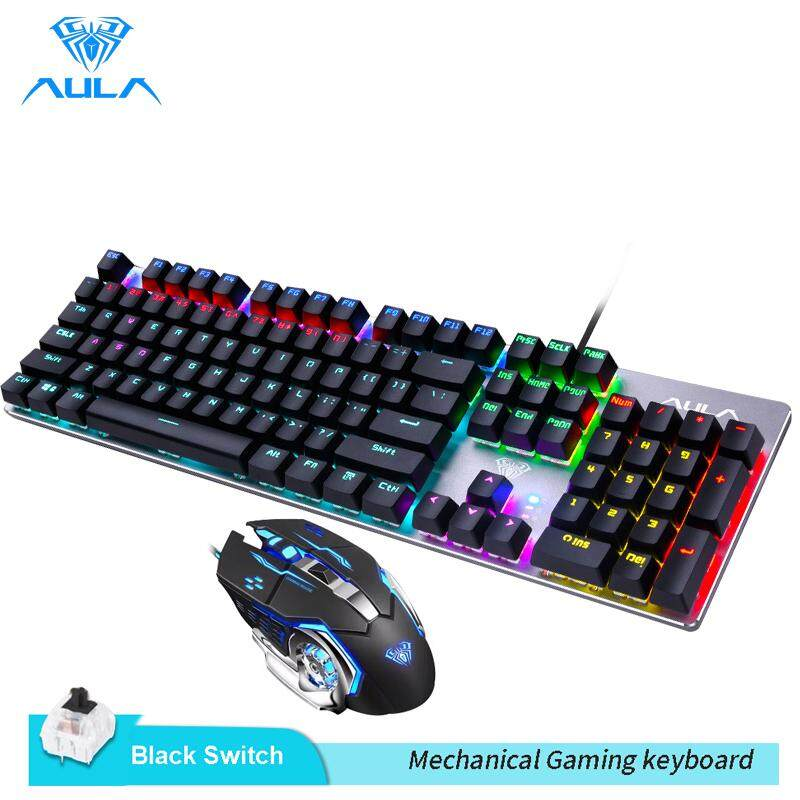 AULA Mechanical Gaming keyboard and Gaming Mouse Combo-Black/Blue Switch(F2068+S20) Singapore