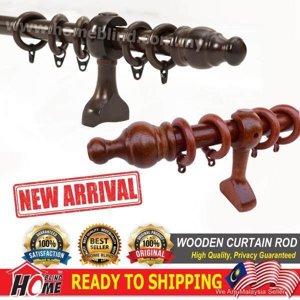 ANKARA Wooden Curtain Rod / Kayu Langsir / 6 Size Available / Dark Walnut / Mahogany Chestnut