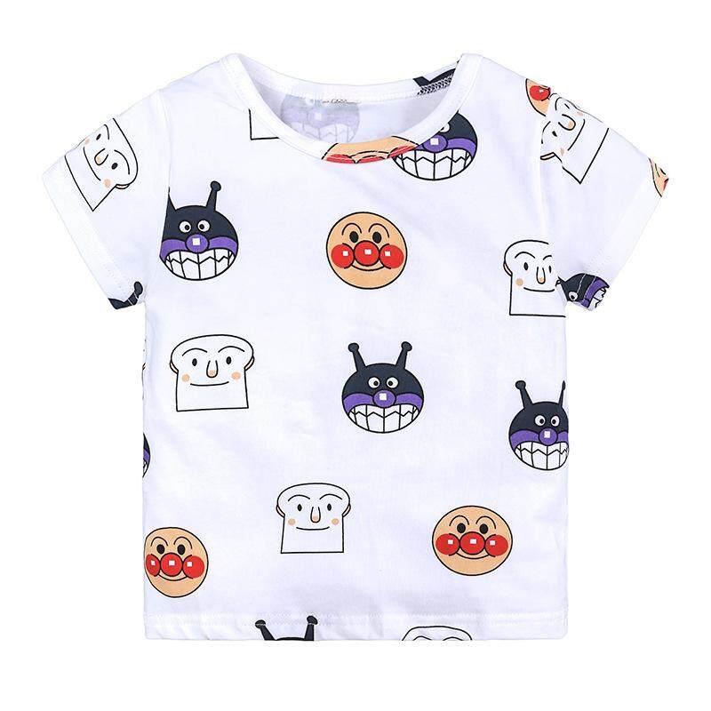 Anpanman Children Summer Shirts Cartoon Short Sleeve Boys Girls Size 2-7Y