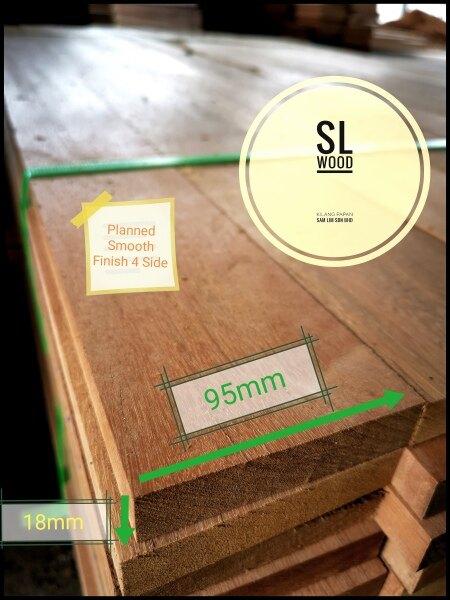 Balau Solid Wood Timber Smooth Finish 18(T)mm × 95(W)mm = 3(L)Feet Kayu Balau