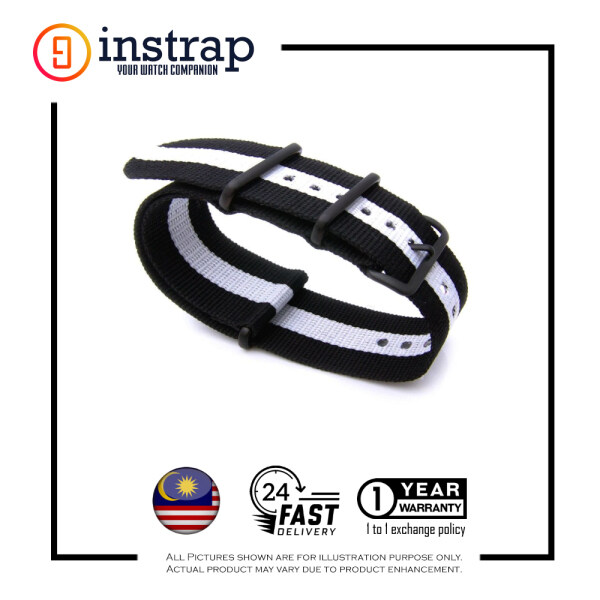 [24mm] Instrap Nato Strap Signature Classic Watch Band PVD Black Buckle (BlackWhite) Malaysia