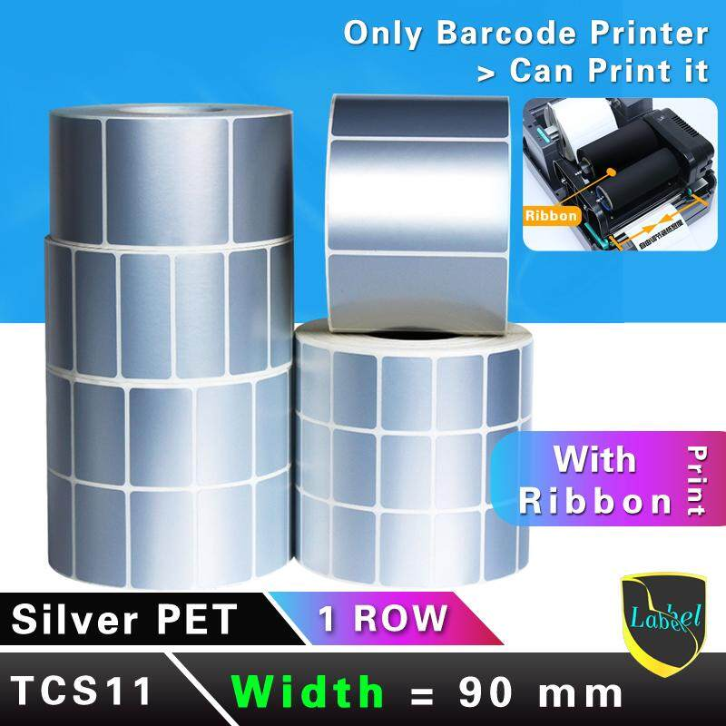 barcode sticker thermal pet label pvc label roll price tag silver sticker 90mm*40 50 60 70 80 100 150mm TCS11
