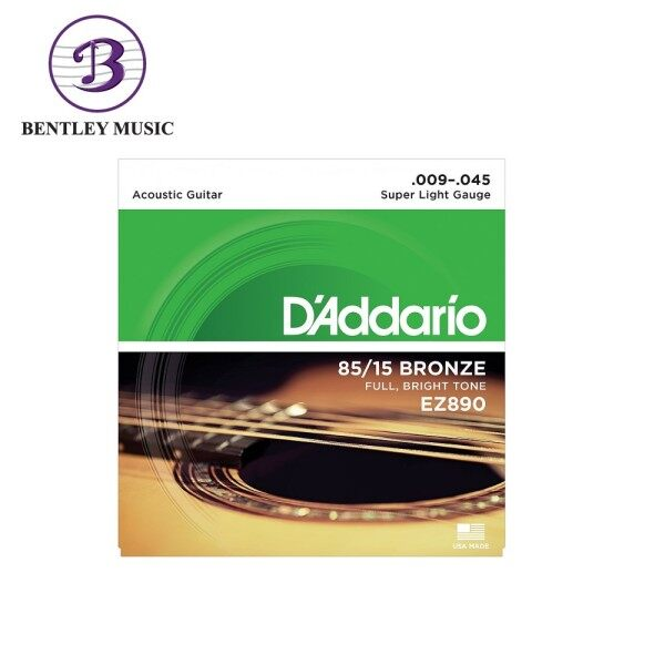 D'Addario EZ890 85/15 Bronze Acoustic Strings, Super Light, 9-45 Malaysia