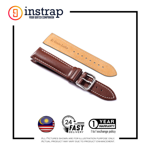 [20mm] Instrap Premium Calf Leather Italian Padded Watch Strap Watch Band (BrownWhiteStitched) Malaysia