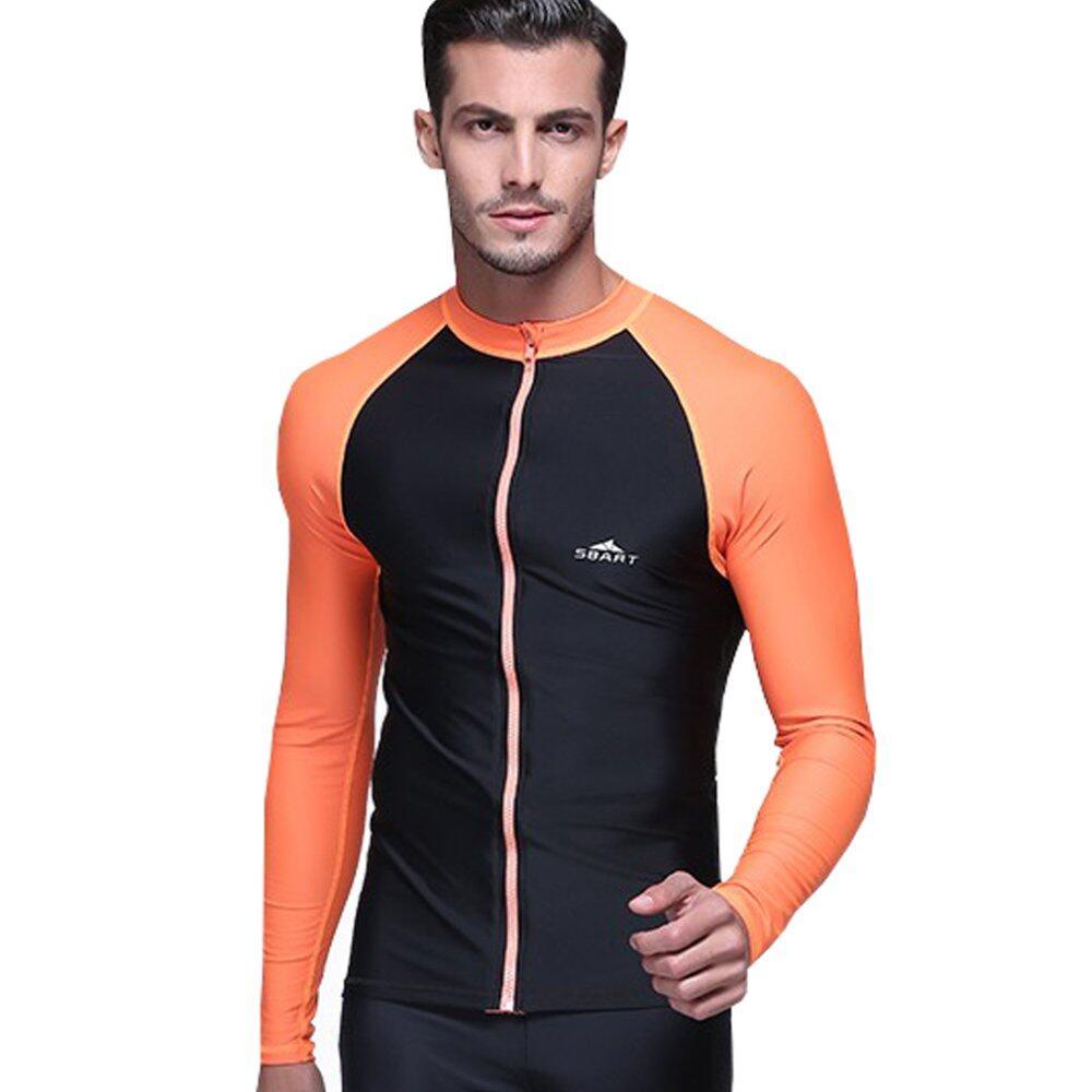 ea01a53524 Men Diving Snorkeling Wetsuit Swim Shirts Tops Long Sleeve Rash Guard Surf Shirt  Swimwear – Orange