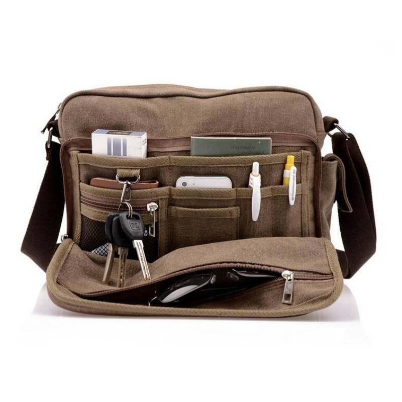 fa17160c4c Men s Canvas Messenger Shoulder Stylish Multi Compartment Bag New Design  European Canvas Hand Bag Shoulder Bag