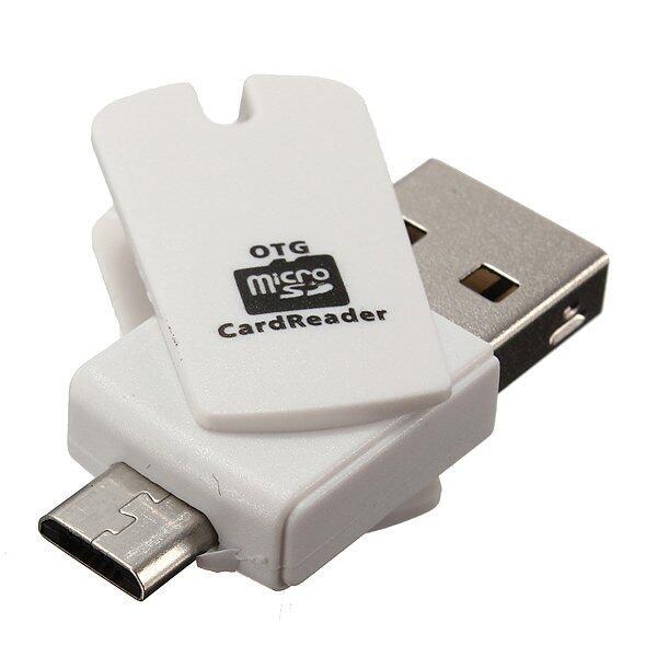 Mini 2 trong 1 Micro USB OTG Adapter + Micro SD TF Đầu Đọc Thẻ dành cho Điện Thoại Android PC -màu trắng-Intl
