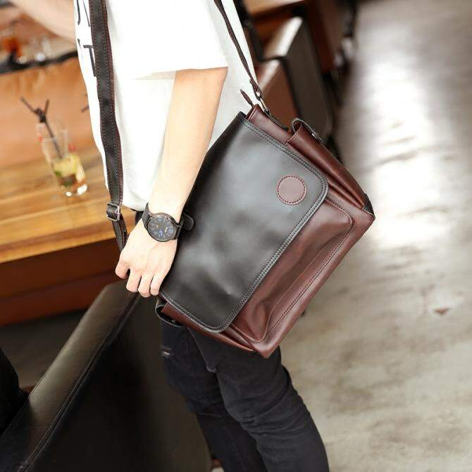 New Crazy Horse Leather Korean Fashion Men's Handbag Single Shoulder Bag Crossbody Bag Leisure Men Backpack
