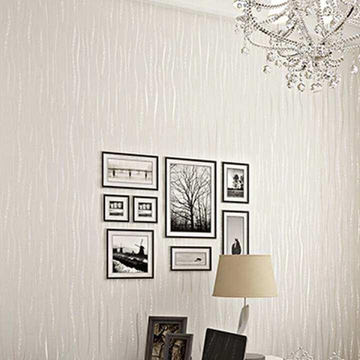 Contemporary Wallpaper 3D Vertical Stripes Non-woven Wallpaper Plain Solid Color