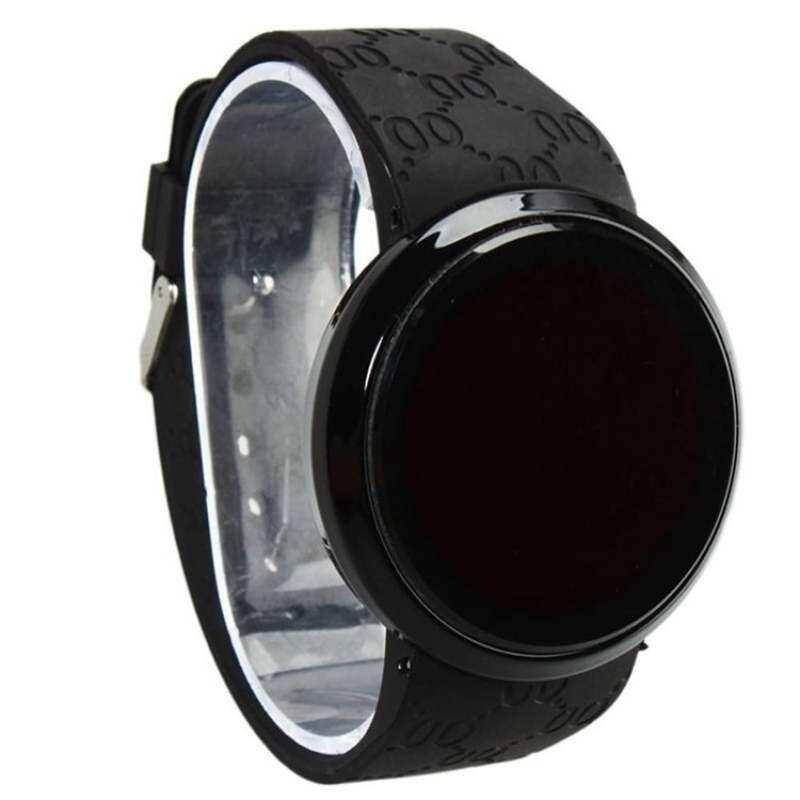 FF8866YY Tahan Air Pria LED Pergelangan Tangan Layar Sentuh Jam Tangan Silikon Date Hitam