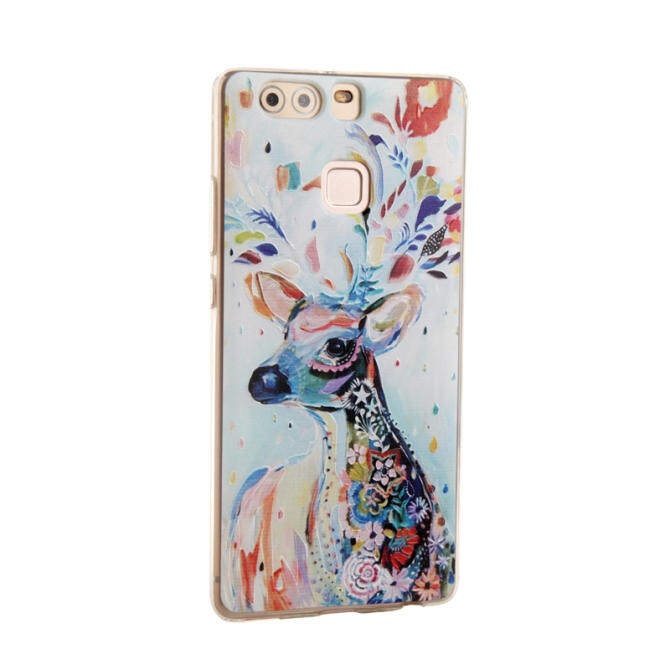 THB 428 PinTo Ultra Thin Soft Silicon TPU Painting Bcak cover case For Huawei P9 Plus with HD Screen Protector -Transparent WhiteTHB428