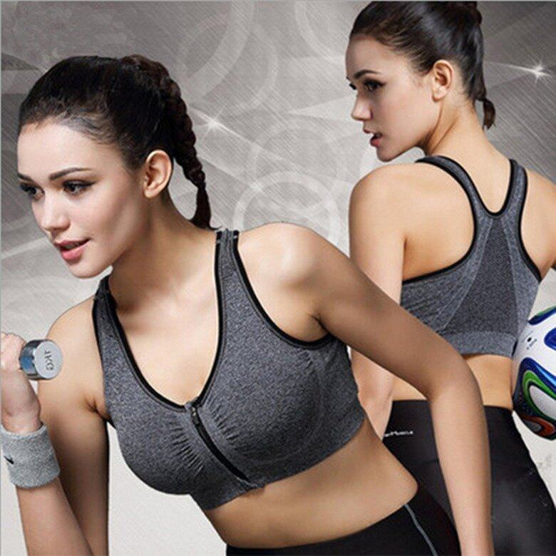 Sport Gym Zumba Yoga Zipper Bra Grey