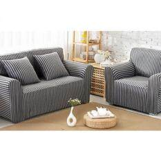 Stripes Protective Elastic Sofa Cover 1 Seater (black) By Sell Zone.