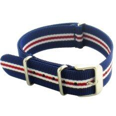 Twinklenorth 20mm Blue Red White Stripes Nato Strap Nylon Military Watch Band Strap Watchband NATO-009 Malaysia
