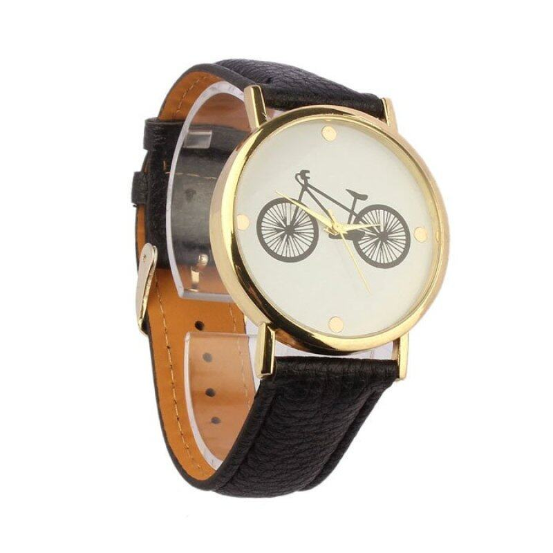 Unisex Bicycle Pattern Dial Leather Band Quartz Analog Wrist Watch  (Black) Malaysia