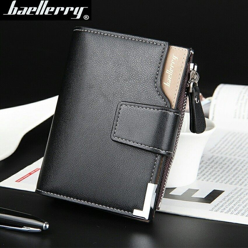 V SHOW Baellery Big Capacity Men Wallet Leather VerticalLeathercredit Card Holder With Zipper-129-