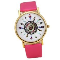 Vintage Feather Dial Leather Band Quartz Analog Wrist Watches (Pink) Malaysia