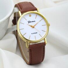 Women Design Dial Leather Band Analog Geneva Quartz Wrist Watch Brown Malaysia