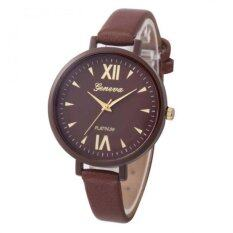 Women Time Fine Watch strap Leather Analog Simple Clock Dial Wrist Watch Coffee (Intl) Malaysia