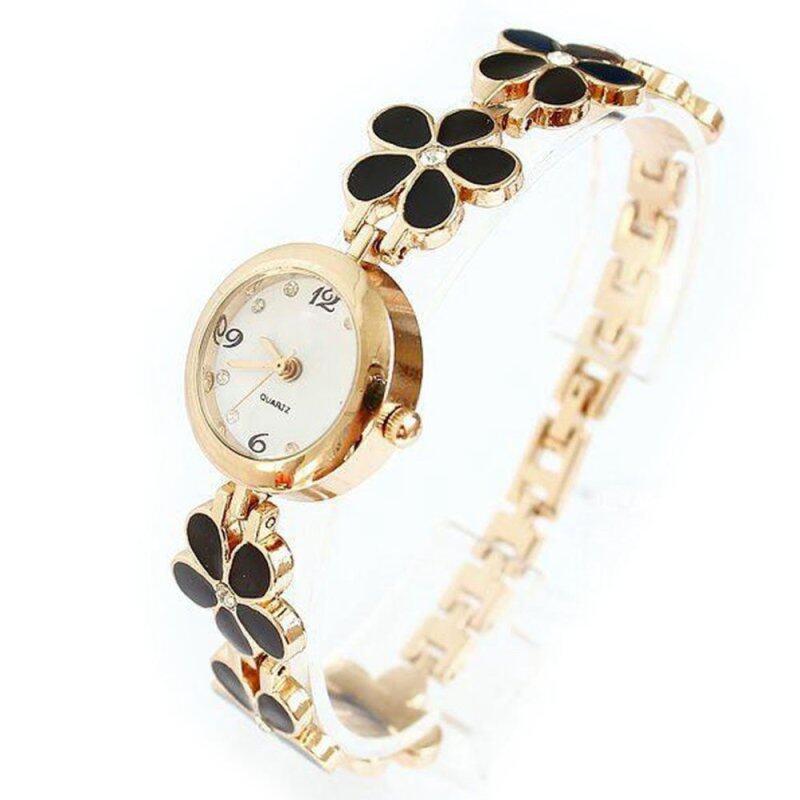 Womens Girls Chic Fashion Daisies Flower Rose Golden Bracelet Wrist Watch Black Malaysia