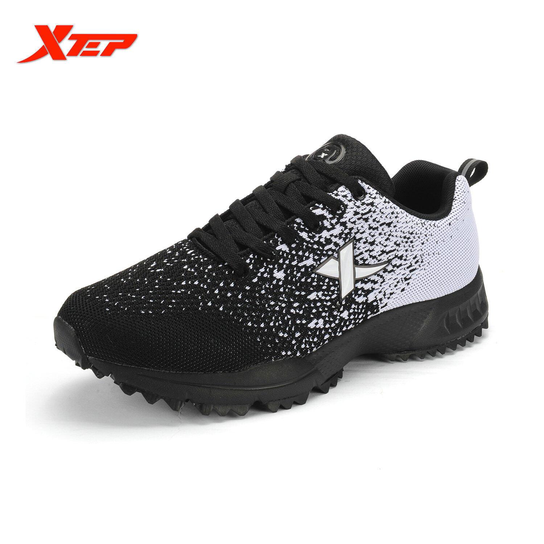 XTEP Merek 2016 Menenun Gaya Her Kets Sepatu Olahraga Pria Berlari-lari Mengikuti Jejak Pria PELATIH Olahraga Ringan Bernapas Sepatu (hitam/putih)