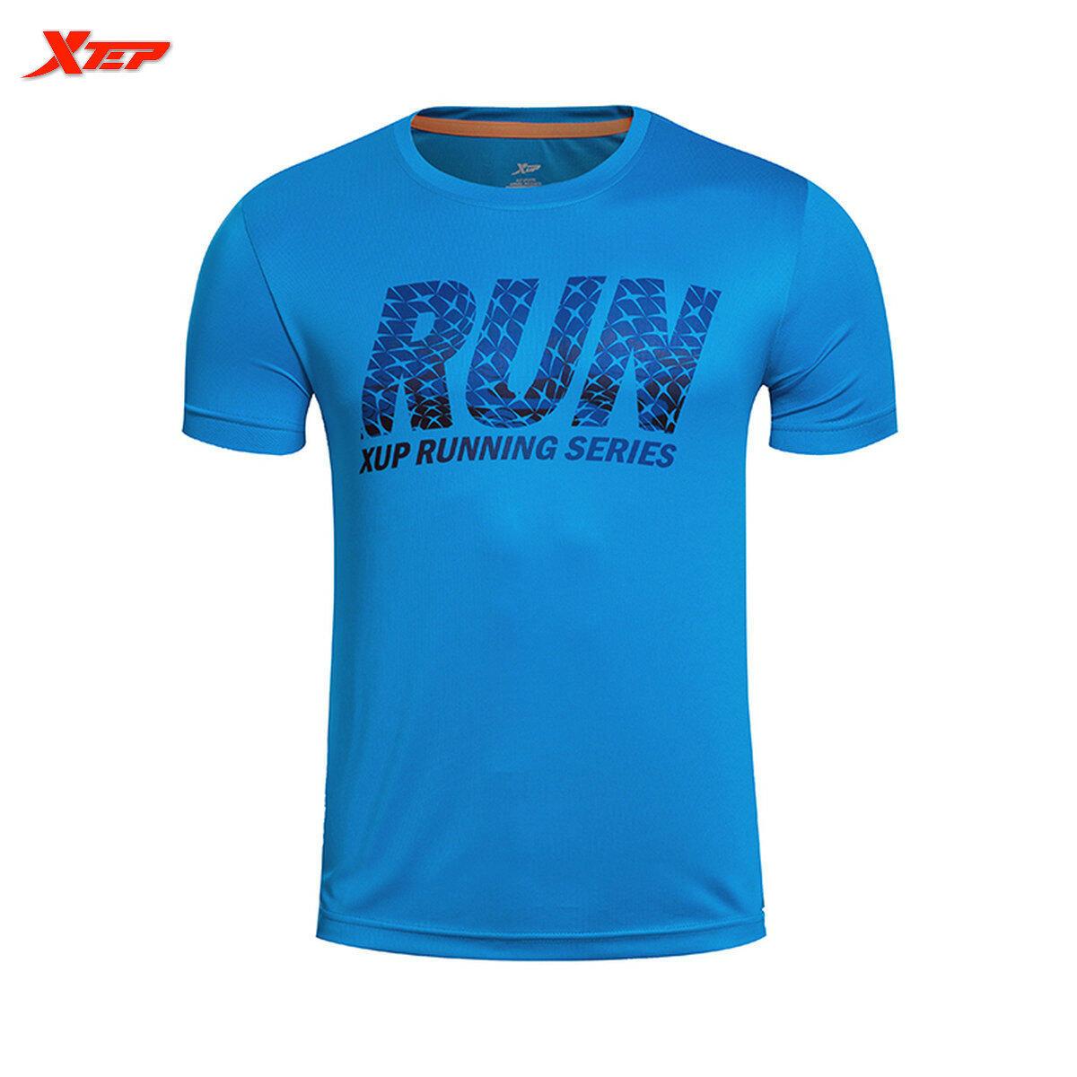 XTEP Merek Luar Lari T-shirt For Pria Puncak Pusat 2016 Musim Panas Olahraga Pria Kemeja Pria Baju Cepat Kering (biru)