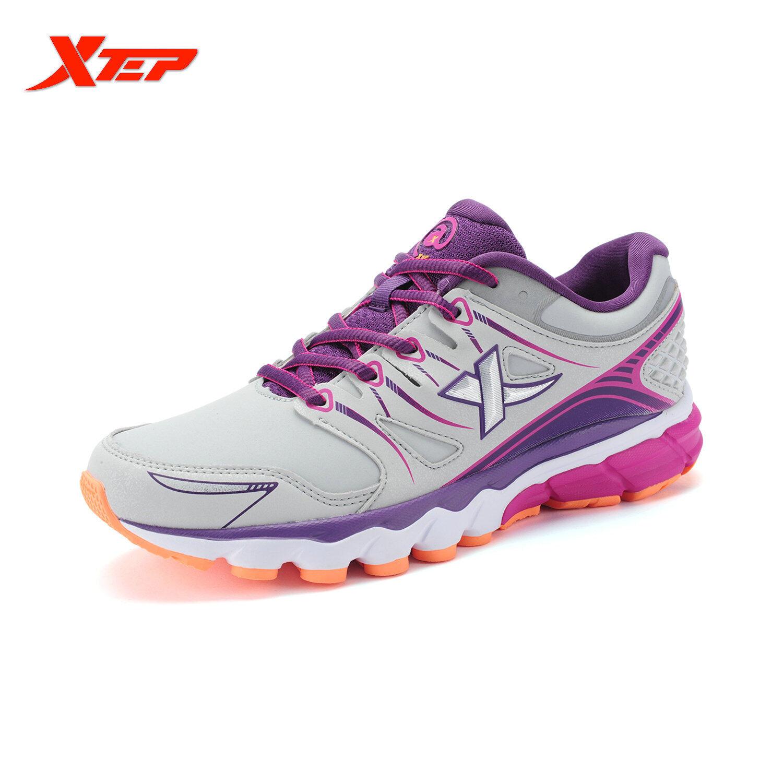 XTEP Profesional Merek Sepatu Lari untuk Wanita, China Cahaya Kulit Sepatu Olahraga Wanita Redaman Atletik Lari Sepatu Kets (abu- Abu)
