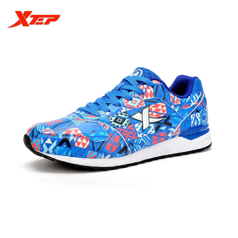 XTEP Asli Merek Sepatu Lari untuk Pria 2016 Musim Gugur Musim Dingin Pelari Sepatu Sport Trainer Pria Sneaker Atletik (Biru)