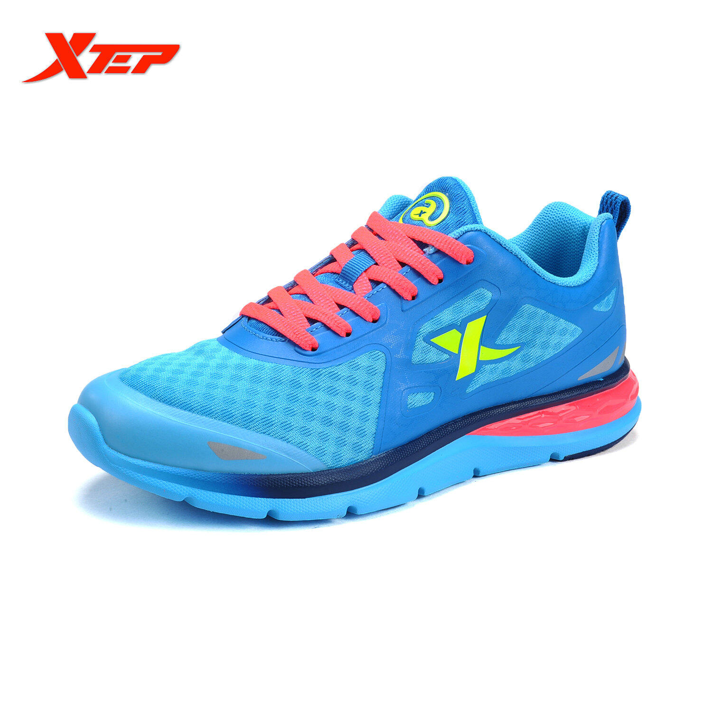 XTEP Asli Bermerek Sepatu Lari Sepatu Kets Wanita Sepatu Olahraga Atletik 2016 Sepatu Musim Panas Sejuk Cahaya (biru/ Merah)