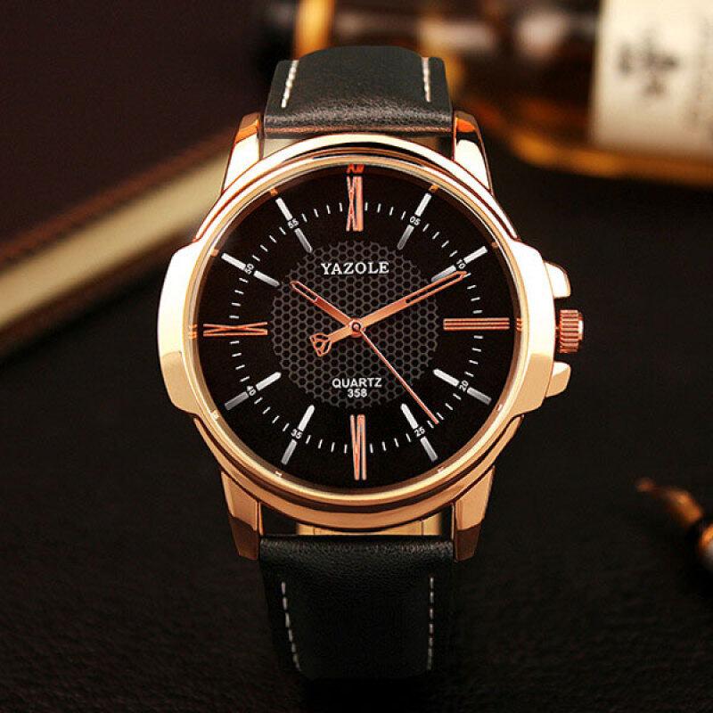 Yazole Luxury Famous Men Leather Watch Male Clock (All Black) Malaysia